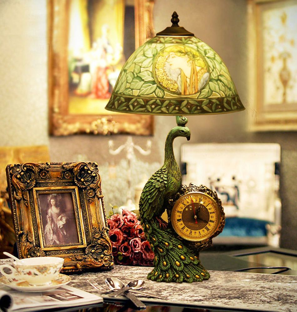 Wh wholesale vintage lead crystal table lamp buy cheap - Makenier Vintage Hand Painted Portrait 12 Inch Table Lamp Peacock Clock Base