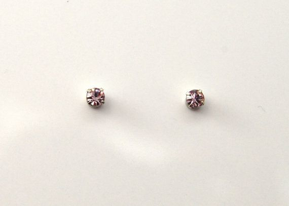 3 mm Round Violet Crystal Magnetic Earrings by LauraWilsonGallery