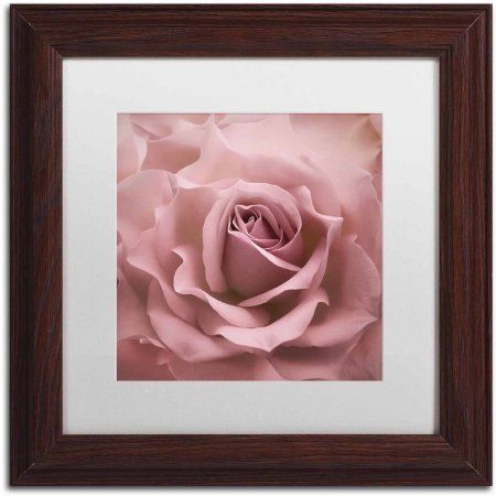 Trademark Fine Art 'Misty Rose Pink Rose' Canvas Art by Cora Niele, White Matte, Wood Frame, Size: 11 x 11, Multicolor