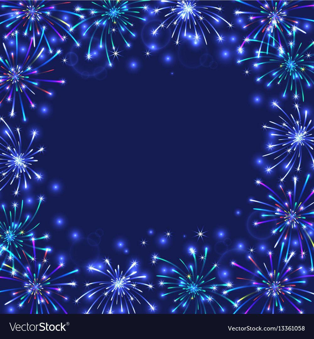 Colorful Firework Frame Vector Image On Frame Fireworks Background