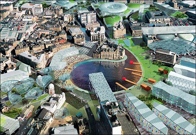 Urban plan Leeds Bradford UK