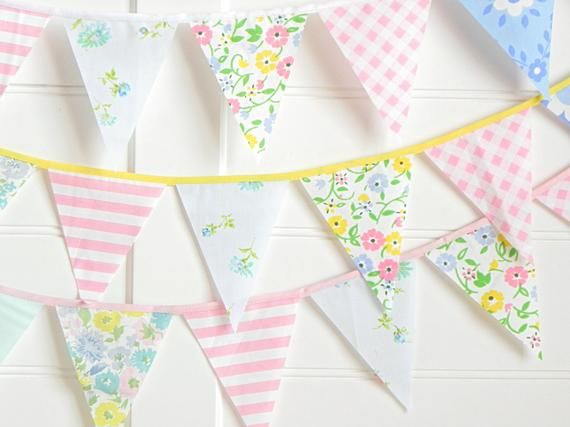 Pastel Fabric Bunting Banner