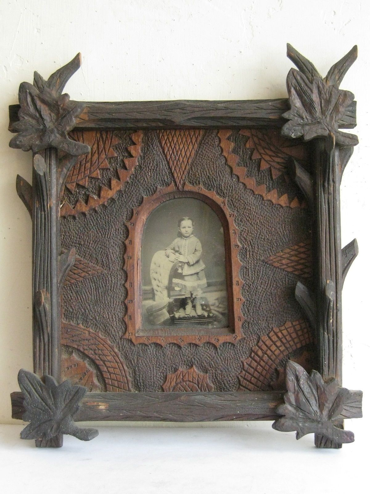 tramp art picture frame