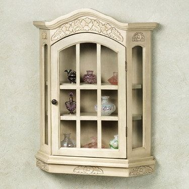 Fantastic Wall Mounted Curio Cabinet With Glass Doors Wall Curio