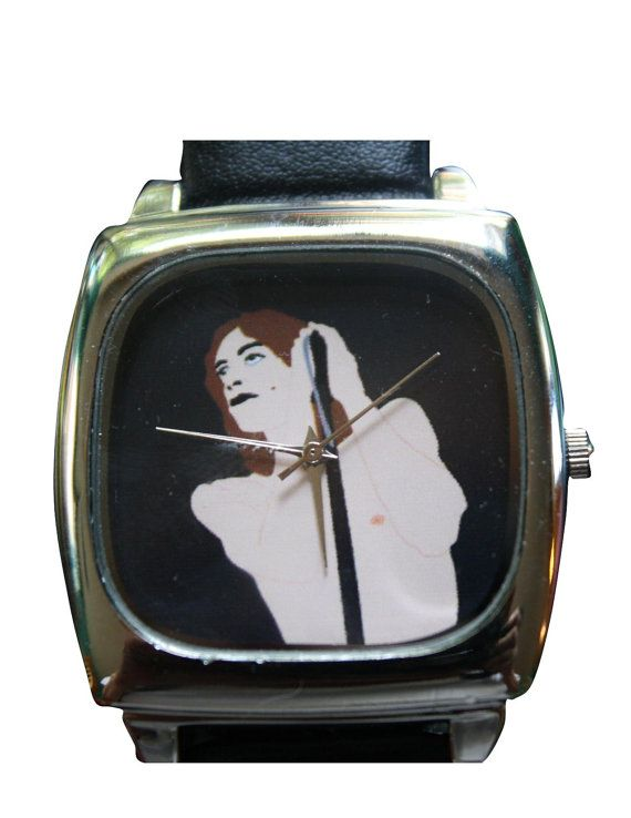 IGGY POP wrist watch black leather... original by kayciwheatley, $42.00