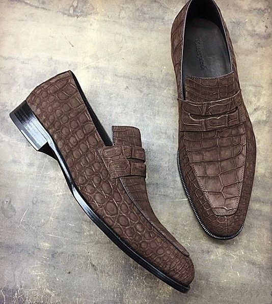 Men's Handcrafted Genuine Alligator Leather Penny SlipOn Leather Lined Loafer is part of Gentleman shoes, Mens boots fashion, Gents shoes, Dress shoes men, Leather shoes men, Mens fashion shoes - Men's Handcrafted Genuine Alligator Leather Penny SlipOn Leather Lined Loafer
