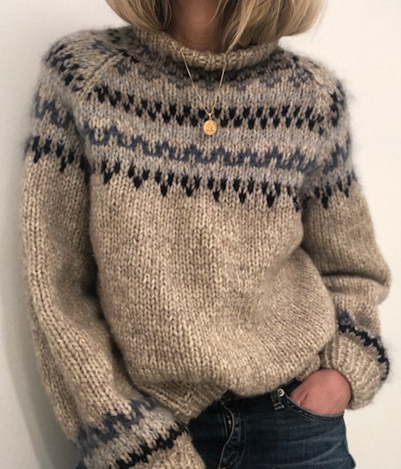 Skaanevik sweater knittingpattern, in supersoft me