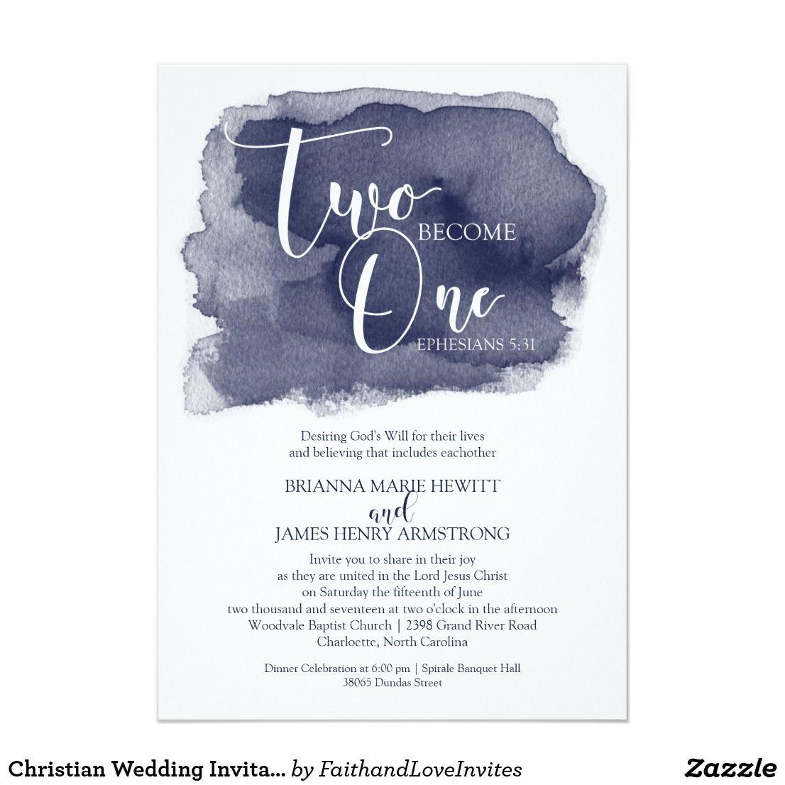Christian Wedding Reception Ideas: Christian Wedding Invitation - Watercolor Navy