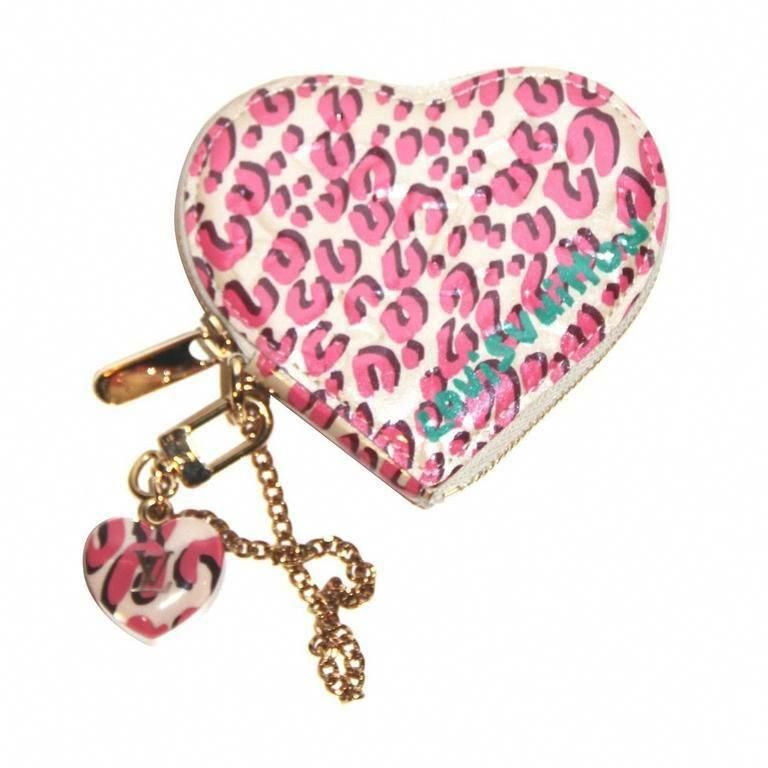 fa1f42d4fbe3 Louis Vuitton x Stephen Spouse Pink Leopard Patent Heart Coin Purse -  Collector