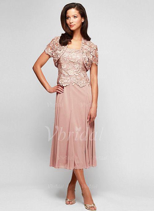 Mother Of The Bride Dresses 106 69 A Line Princess Square Neckline Tea Length Chiffon Lace Dress With Liques 0085094882