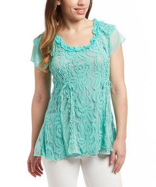 Aqua Floral Lace Linen-Blend Cap-Sleeve Top