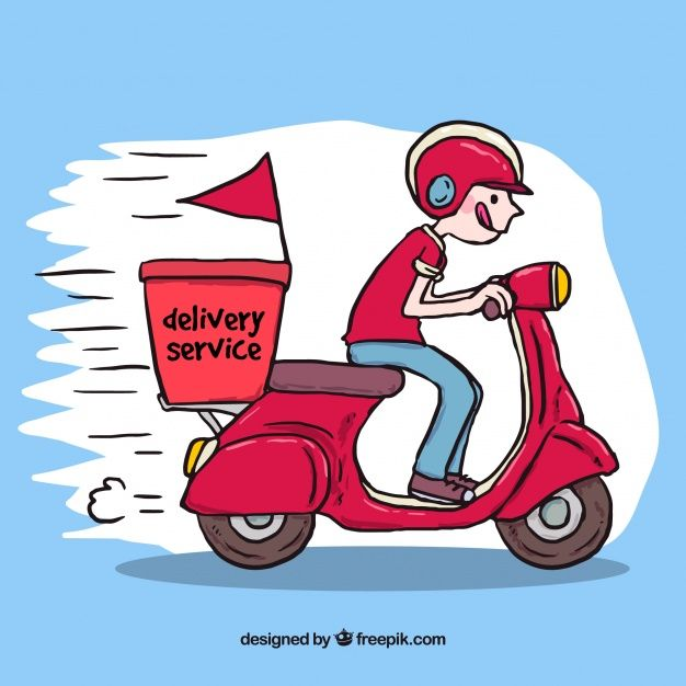 Download Hand Drawn Deliveryman Driving Scooter For Free How To