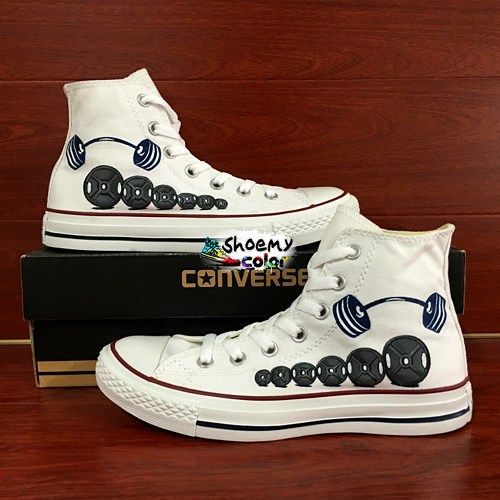 629257d5120 Men Converse High Top Hand Painted Barbell Weight Lifting Canvas Shoes