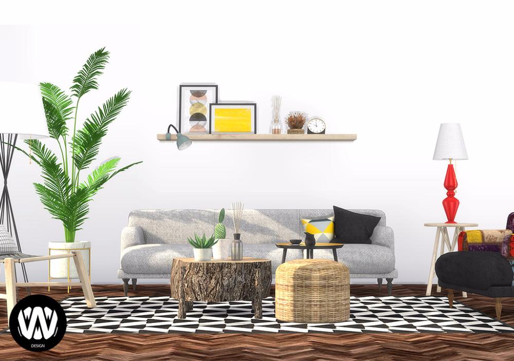 Quercus Living Room I Sims 4 Custom Content Wondymoon Living Room Sims 4 Sims 4 Cc Furniture Room