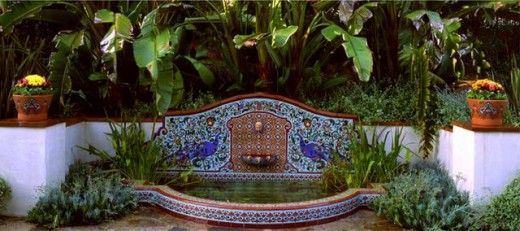 Home improvement outdoor wall fountains with tile for Spanish style fountains for sale