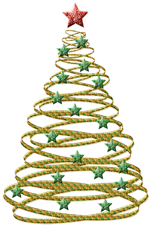 Transparent Gold Christmas Tree with Green Stars PNG ...