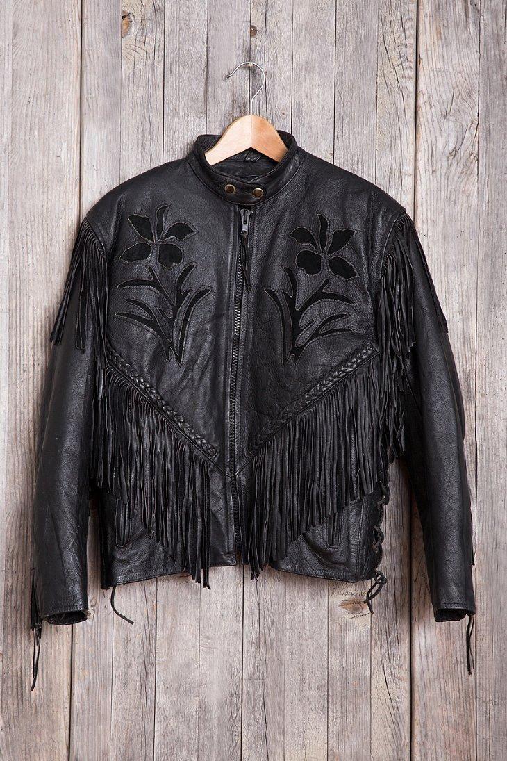 Vintage Floral Leather Jacket