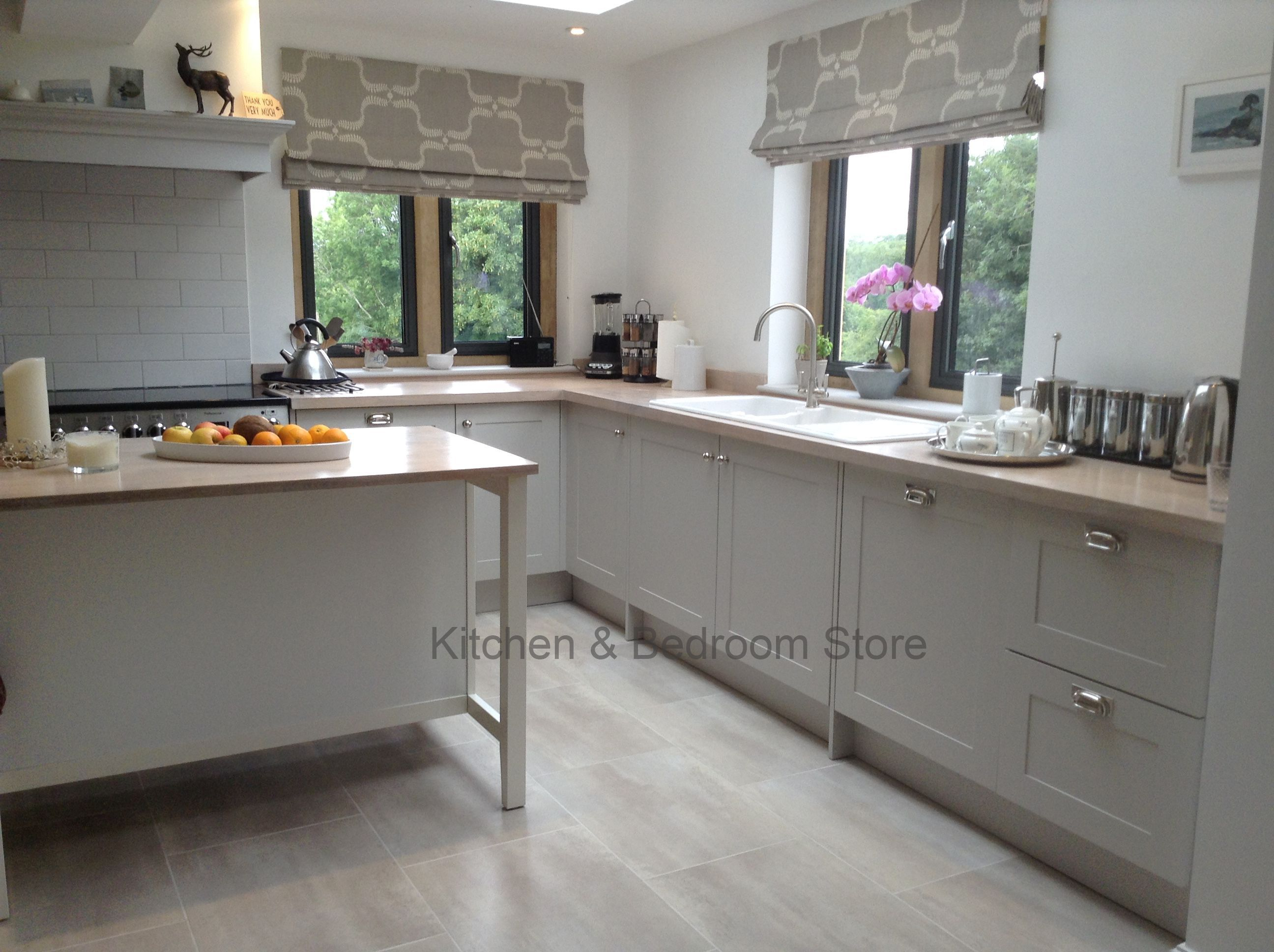 Painted shaker style kitchen with a modern country feel in farrow