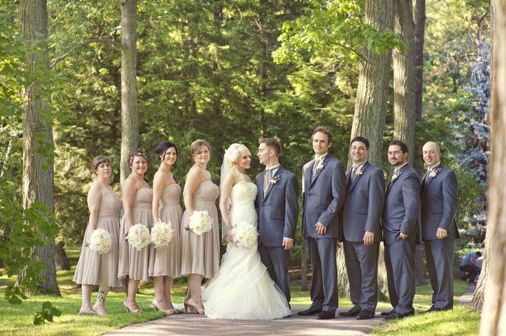 Cheap Wedding Gowns Toronto: Taupe Tux And Navy Dresses Bridal Party