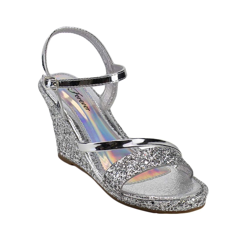 fb4453cea62 Forever FQ54 Women's Glitter Ankle Strap Wrapped Wedge Heel Platform ...