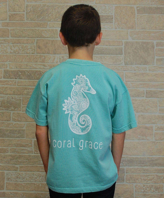 Youth Seafoam T-Shirt with Henna Print