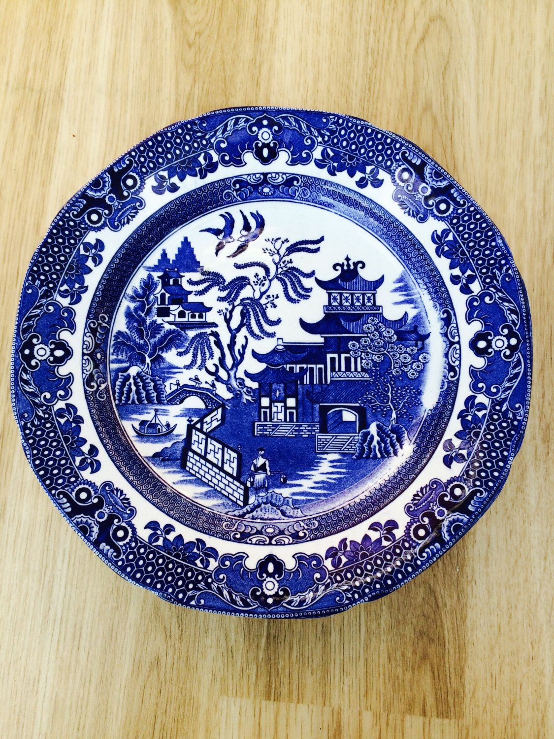 Vintage Burleigh Ware blue and white Willow pattern plate by VintageVinnieTrading on Etsy & Vintage Burleigh Ware blue and white Willow pattern plate by ...