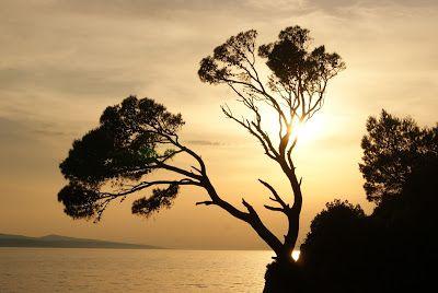 Beautiful sunset in Brela, Croatia