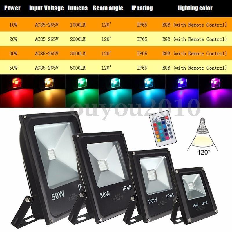 10w 20w 30w 50w Rgb Warm White Led Flood Light Outdoor Garden Security Lamp Ip65 Ebay