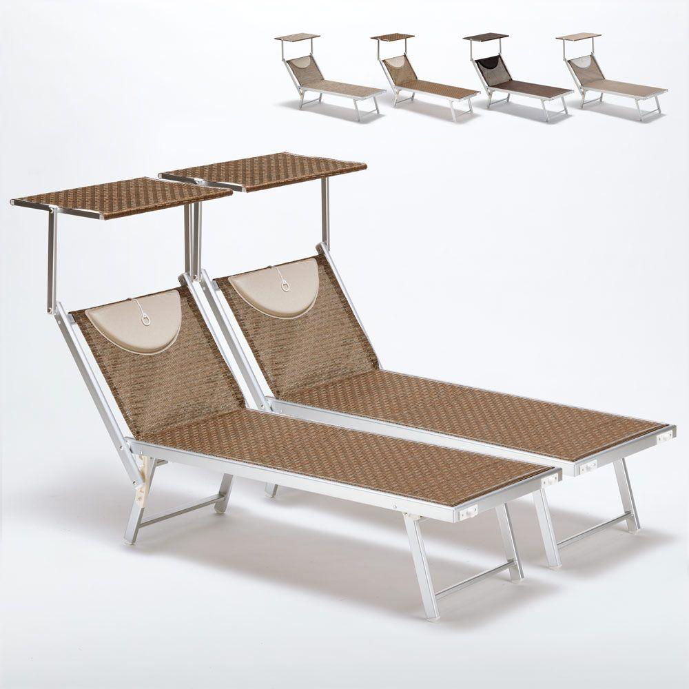 Set Of 2 Sun Loungers With Head Shade Limited Edition Santorini Sun Lounger Reclining Sun Lounger Sun Lounger Cushions