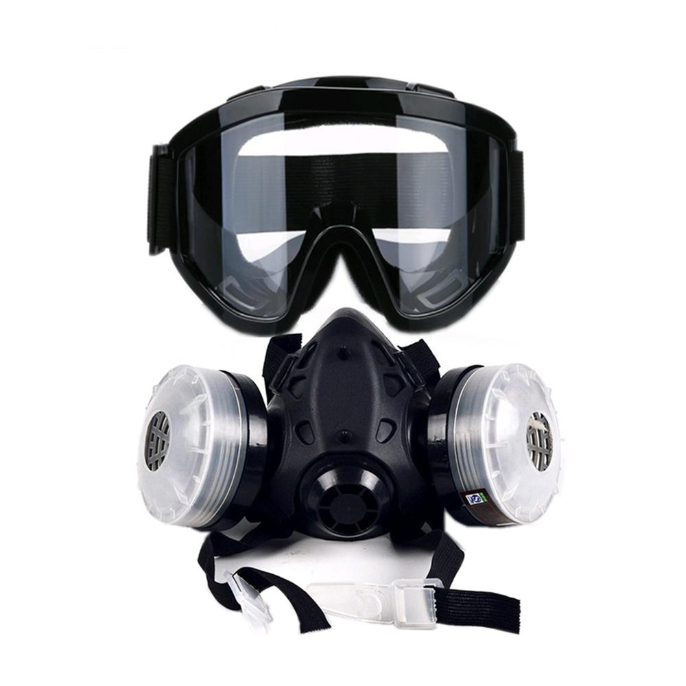 Men's Accessories New Chemical Gas Anti-dust Spray Paint Dual Respirator Mask Protective Gas Mask With Goggles Suit Full Face Facepiece Respirator Fashionable And Attractive Packages