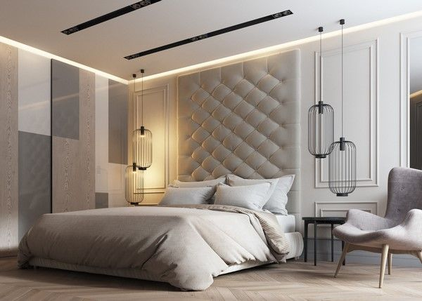 Padded wall panels in the bedroom - outstanding accent ...