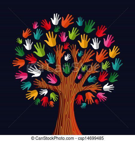 Vector Multi Social Solidarity Tree Hands Stock Illustration Royalty Free Illustrations Stock Clip Preschool Crafts Hand Illustration School Decorations