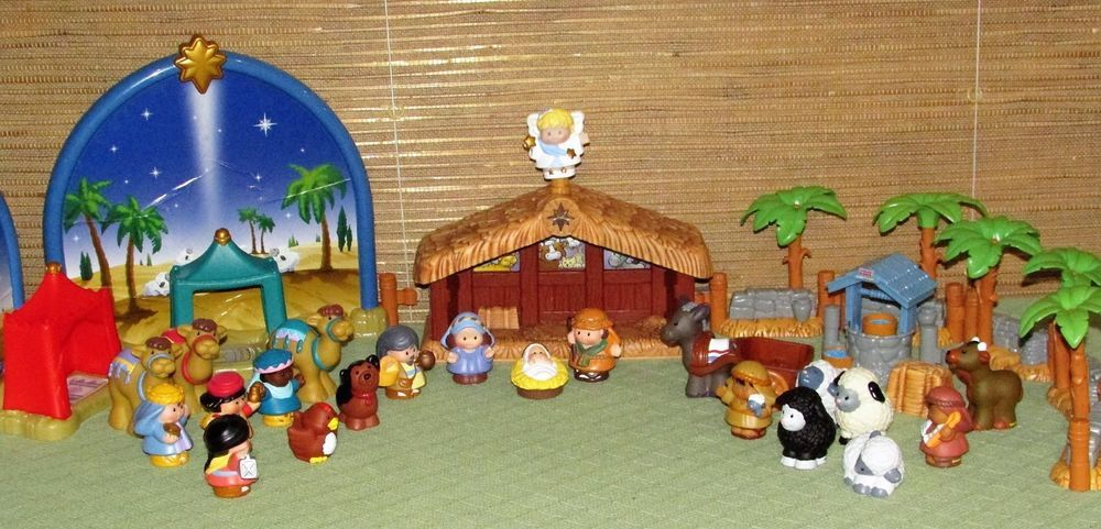 35 Piece LITTLE PEOPLE NATIVITY Lighted Musical Christmas Manger Wisemen Animals #FisherPrice