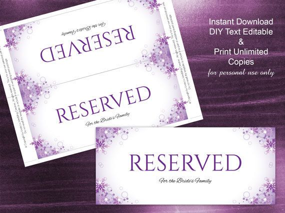 DIY Printable Wedding Reserved Sign Template – Microsoft Word Sign Template