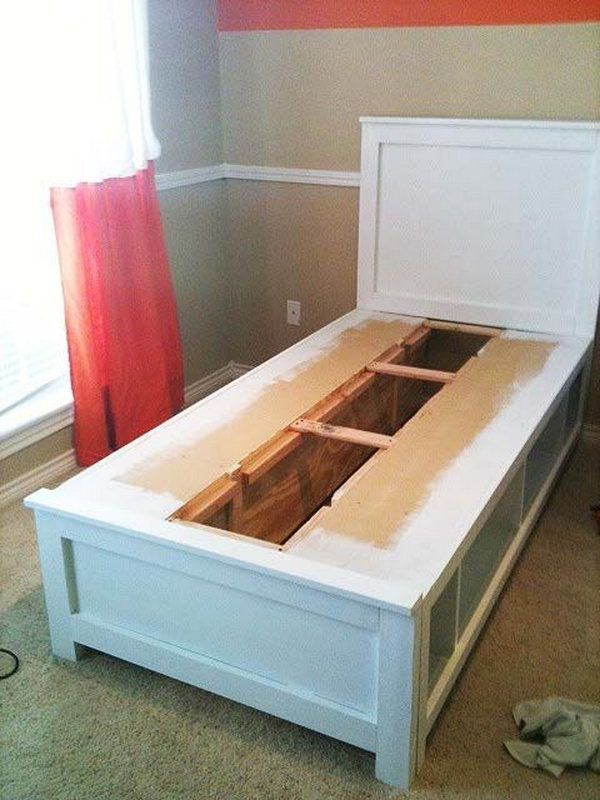 DIY Twin Bed With Storage. A creative storage idea to make shelves ...