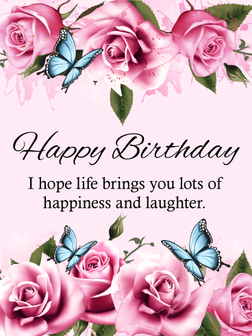 Blue Butterfly Happy Birthday Card