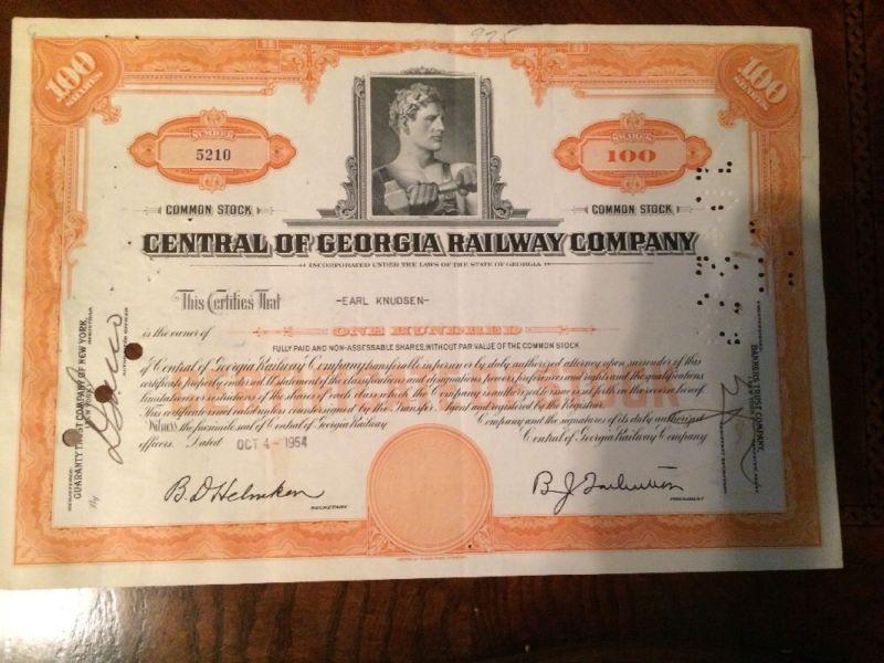 Central Of Georgia Railway Company Stock Certificate - Earl Knudsen