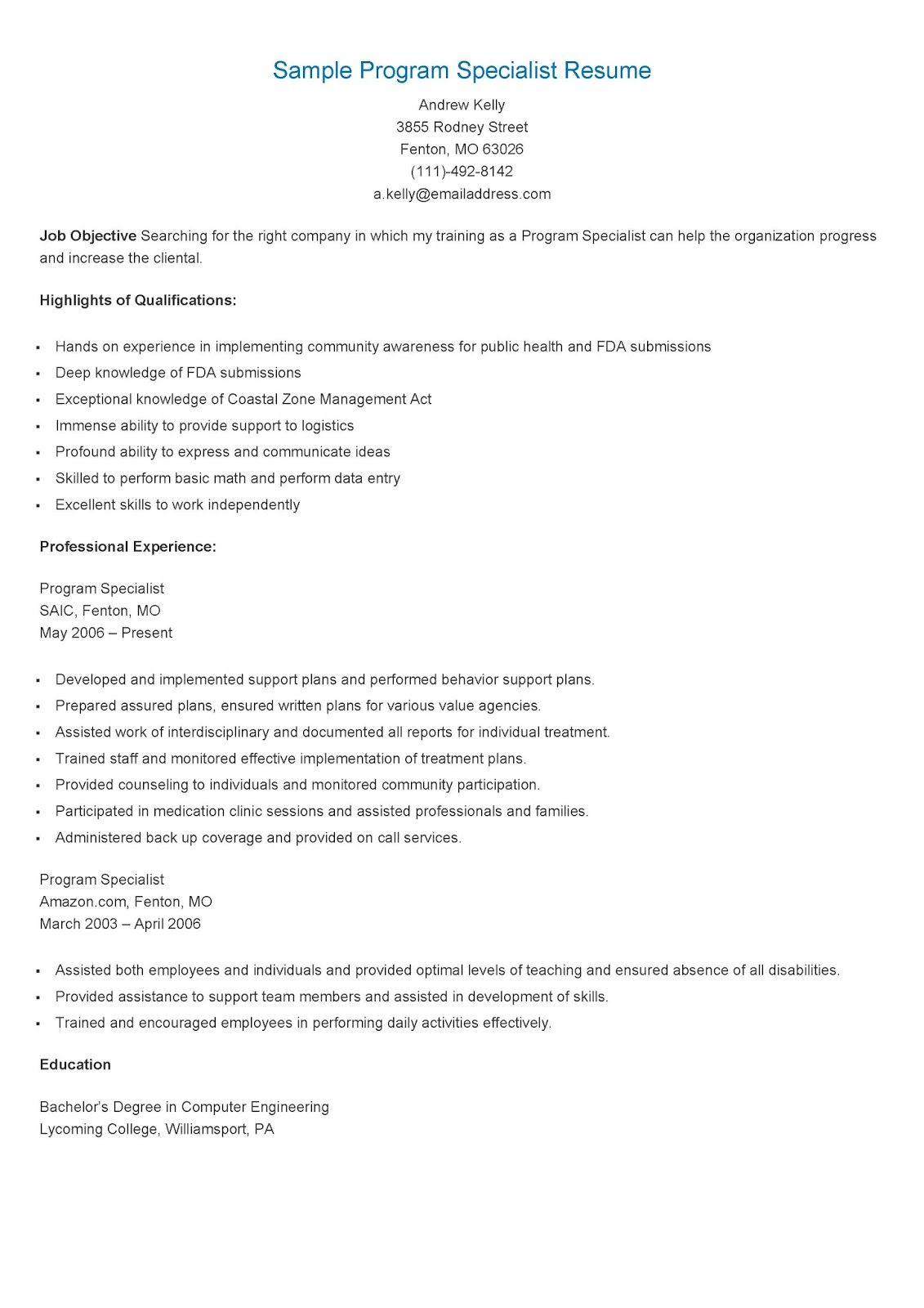 Sample Program Specialist Resume   resame   Pinterest