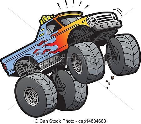 Clip Art Vector Of Monster Truck Jumping Cartoon Illustration Of A Cool Csp14834663 Search Clipar Monster Trucks Monster Truck Art Monster Truck Drawing