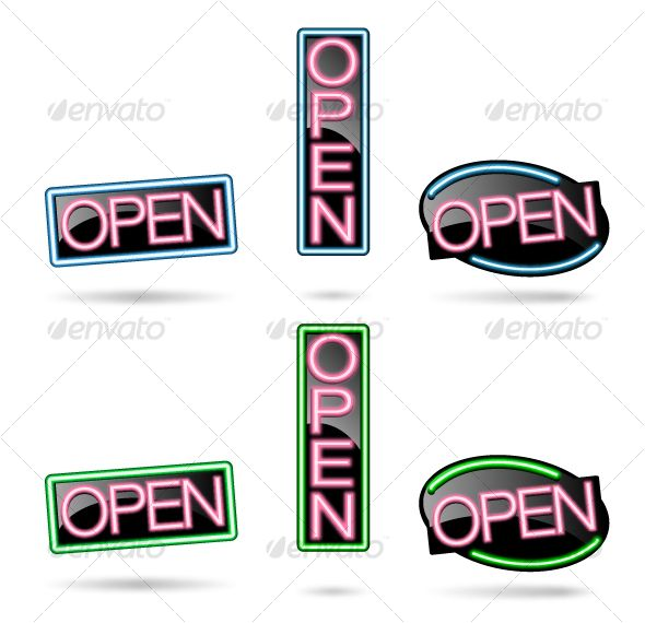 Realistic Graphic DOWNLOAD (.ai, .psd) :: http://sourcecodes.pro/pinterest-itmid-1000091766i.html ... Neon Open Sign Set ...  clean vintage, ecommerce, modern, neon blue, neon pink, neon sign, new business, open, open sign set, red, web design  ... Realistic Photo Graphic Print Obejct Business Web Elements Illustration Design Templates ... DOWNLOAD :: http://sourcecodes.pro/pinterest-itmid-1000091766i.html