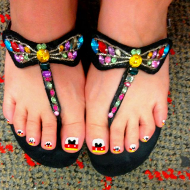 Mickey Mouse French Tip nail art on toes. Please disregard the ...