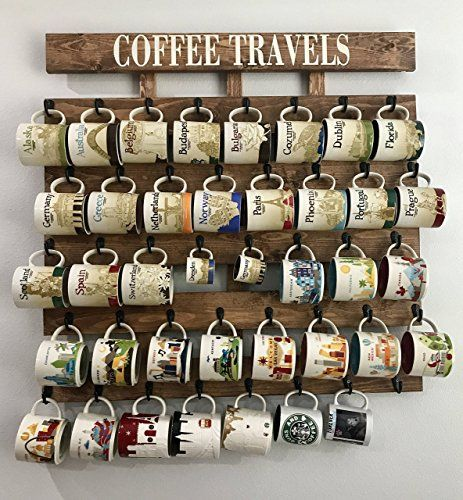 Rustic Pallet Wood Coffee Cup Rack 48 Mug Hooks Xl You Are Here Collection Display