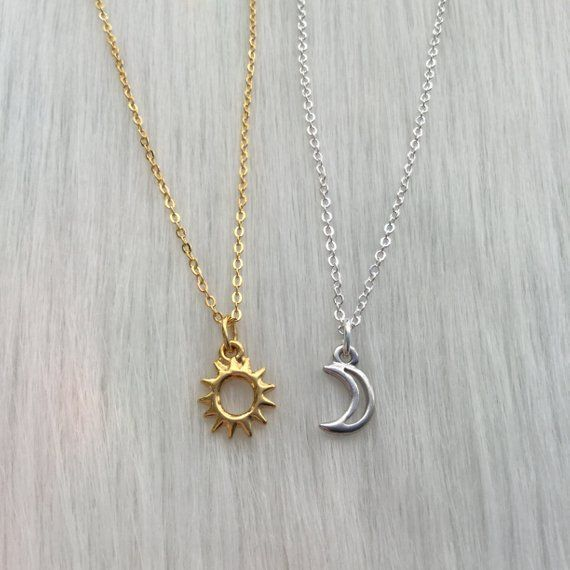 Photo of Sun and Moon friendship necklaces, Dainty, Minimalist Jewelry