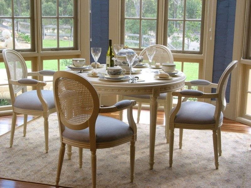 Furniture · French Country White Distressed Dining ...