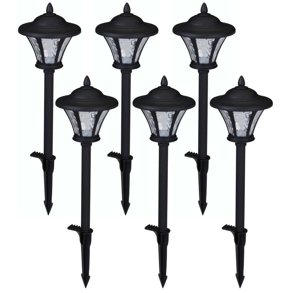 Hampton Bay Low Voltage Black Outdoor Integrated Led Landscape Coach Style Path Light With Water Glass Lens 6 Pack 29156 Outdoor Path Lighting Garden Path Lighting Path Lights