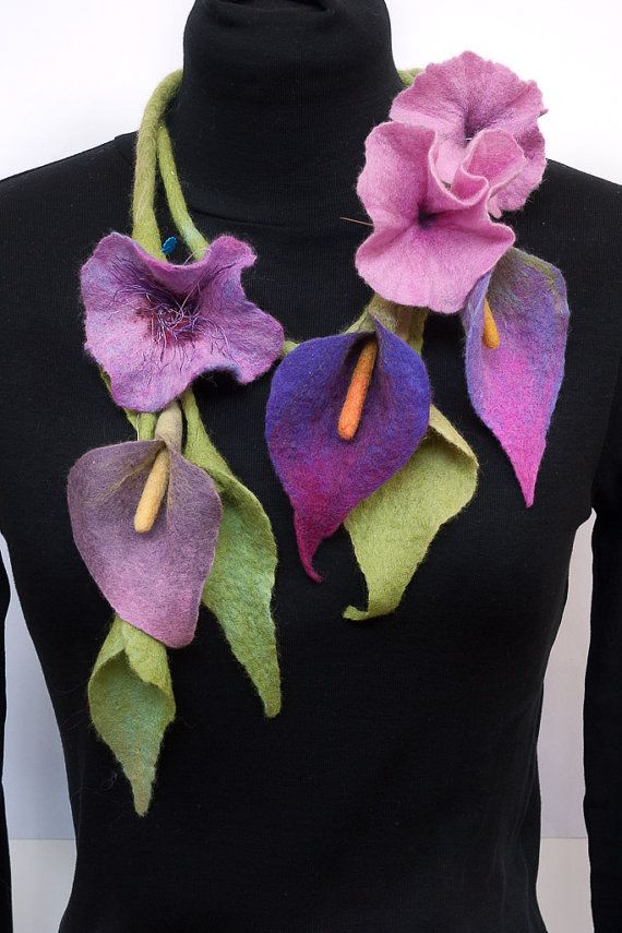 "CUSTOM MADE felt Necklace scarf ""Bouquet"" / Felted Flowers"