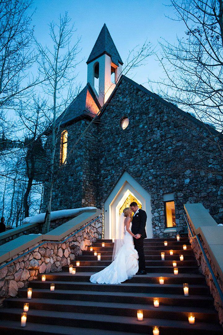 Beautiful Chapel At Beaver Creek Winter Church Wedding Rustic Cold