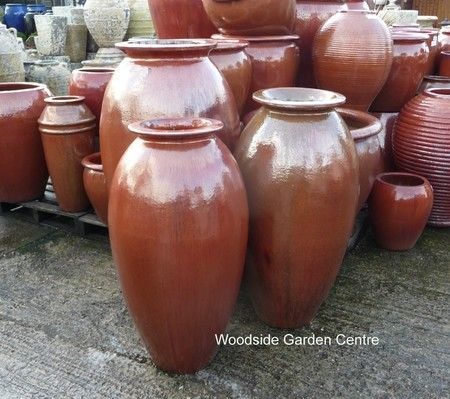 Large Tall Copper Red Glazed Roman Jar Vase   Woodside Garden Centre