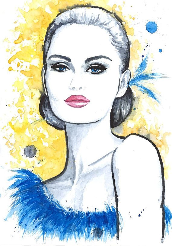 Print from Original Watercolor Fashion Illustration Modern Art Painting titled Yellow Romance