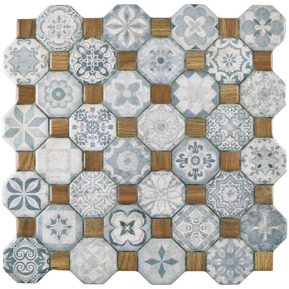 Tessera Blue 12 1 4 Inch X 12 1 4 Inch Ceramic Floor And Wall Tile
